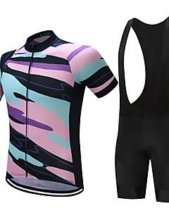 Sykkeljersey med bib-shorts Herre Kortermet Sykkel Shorts Skjorte Genser Jersey TopperFort Tørring Fukt Gjennomtrengelighet