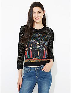 Χαμηλού Κόστους Black & White Tops-Γυναικεία Μεγάλα Μεγέθη T-shirt Patchwork Δίχτυ Στάμπα Βαμβάκι Πολυεστέρας