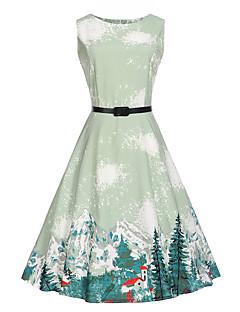 Kadın Tatil Günlük/Sade Çalışma Vintage Sevimli A Şekilli Elbise Desen,Kolsuz Yuvarlak Yaka Diz-boyu Pamuklu Polyester Yaz Yüksek Bel