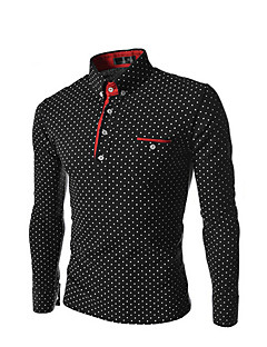 Men's Party/ Evening Office/Career Business Daily Casual Street chic Spring Summer Shirt,Polka Dot Stand Long Sleeve Polester/Cotton Blend