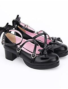 cheap Lolita Fashion Costumes-Lolita Shoes Sweet Lolita Dress Classic Lolita Dress Handmade Princess Lolita Chunky Heel Lolita Bowknot 4.5 CM Black For PU Leather PU