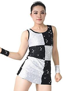 Jazz Kjoler Dame Børne Ydeevne Spandex Polyester Palliet-belagt 4 Dele Ærmeløs Naturlig Kjole Armbånd Shorts