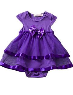 billige Babyoverdele-Baby Pige Bluse Helfarve, Akryl Polyester Sommer Kortærmet Blomster Lyserød Lilla Rosa