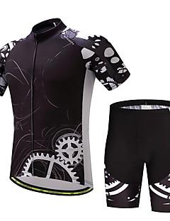 abordables -Maillot et Cuissard de Cyclisme Homme Manches Courtes Vélo Ensemble de Vêtements Sangle antidérapant Bonne ventilation Mèche Douceur