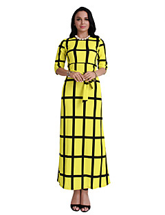 Women's Daily Holiday Going out Club Vintage Sexy Boho Bodycon Sheath Dress,Plaid Round Neck Maxi Short Sleeves Polyester Summer Fall