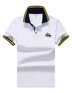 Men's Daily Casual Summer Polo,Solid Shirt Collar Short Sleeves Polyester Opaque