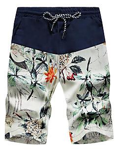 billige Herrebukser og -shorts-Herre Fritid Aktiv Uelastisk Rett Shorts Bukser, Mellomhøyt liv Ensfarget Sommer