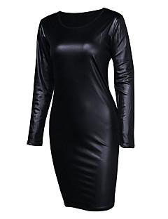 Damen Bodycon Kleid-Party Ausgehen Klub Sexy Einfach Street Schick Solide Rundhalsausschnitt Übers Knie Langarm Kunstleder Echtes Leder