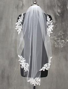 Πέπλα Γάμου Μίας Βαθμίδας Πέπλα Μέχρι τον Ώμο Πέπλα Δαχτύλων Άκρη με Απλίκα Δαντέλας Δαντέλα Τούλι