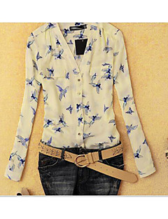 Women's Going out Casual/Daily Work Sexy Simple Cute Spring Summer Shirt,Floral Deep V Long Sleeve Polyester Opaque