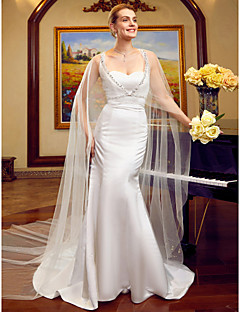 Mermaid Trumpet Sweetheart Cathedral Train Lace Satin Tulle Wedding Dress With Beading By LAN TING BRIDER