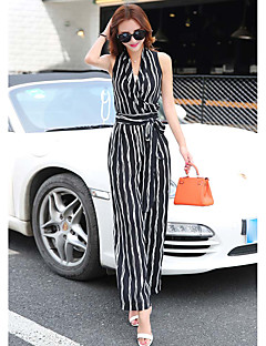 Women's Daily Work Casual Stripe V Neck Jumpsuits,Wide Leg Sleeveless Summer