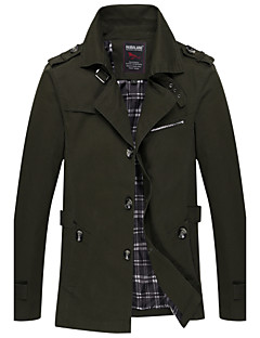 Men's Casual/Daily Vintage Winter Fall Jacket,Solid Shirt Collar Long Sleeve Long Cotton