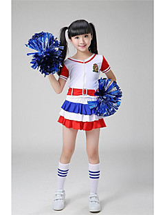 Cheerleader Costumes Outfits Kid's Performance Polyester Belt Appliques 2 Pieces Short Sleeve High Tops Shorts