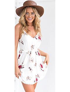 Ample Robe Femme Sortie Sexy,Fleur A Bretelles Mini Sans Manches Chinlon Eté Taille Haute Non Elastique Fin