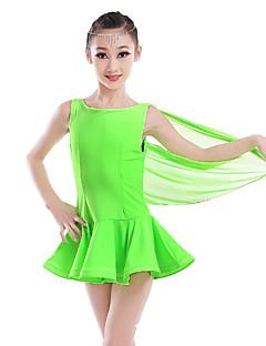 tanie Stroje do tańca latino-Taniec latynoamerykański Suknie Damskie Wydajność Nylon Tiul Pióra Bez rękawów Wysoki Ubierać
