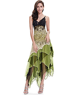 SHE IN SUN Women's Party Club Sexy A Line Dress,Sexy Lace Printing V Neck Maxi Asymmetrical Sleeveless Polyester Summer Mid Rise Stretchy Medium