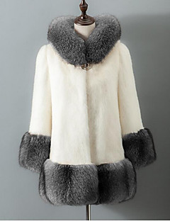 Women's Casual/Daily Simple Fall Winter Fur Coat,Solid Hooded Long Sleeve Regular Fox Fur