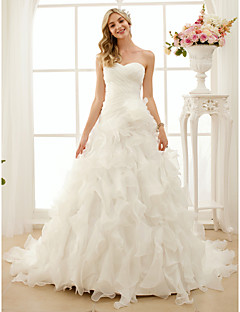 cheap Wedding Dresses-A-Line Princess Sweetheart Court Train Organza Custom Wedding Dresses with Criss-Cross Cascading Ruffle by LAN TING BRIDE®