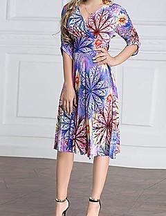 billige Kjoler-Dame Simple Bomuld A-linje Kjole - Trykt mønster Over knæet V-hals Højtaljede