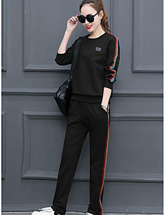 Women's Sports Simple Spring Fall Hoodie Pant Suits,Solid Round Neck Long Sleeve