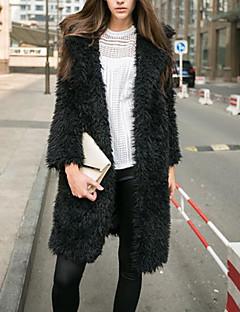 Damen Solide Einfach Ausgehen Mantel,Hemdkragen Winter Lange Ärmel Lang Kaschmir