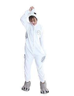 billige Kigurumi-Kigurumi-pysjamas med tøfler Hvit Maks Tegneserie Onesie-pysjamas Kostume Flannelstoff Cosplay Til Voksne Pysjamas med dyremotiv Tegnefilm