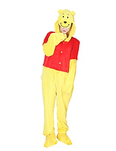 billige Kigurumi-Kigurumi-pysjamas med tøfler Bjørn Onesie-pysjamas Kostume Flannelstoff Cosplay Til Voksne Pysjamas med dyremotiv Tegnefilm Halloween