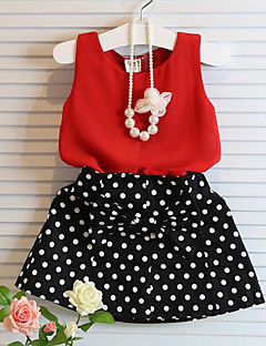 Girls' Polka Dots Print Sets,Cotton Polyester Summer Short Sleeve Clothing Set