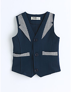cheap Kids' Clothing-Boys' Solid Vest, Cotton Spring Fall Sleeveless Blue