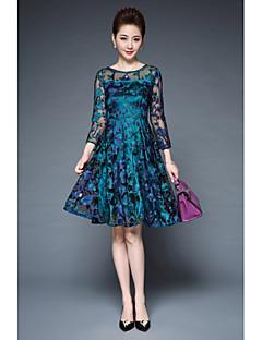 여성 레이스 드레스 캐쥬얼/데일리 심플 솔리드,라운드 넥 무릎길이 3/4 길이 소매 폴리에스테르 그외 여름 중간 밑위 약간의 신축성 중간