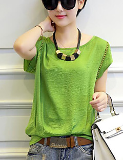 Women's Casual/Daily Simple T-shirt,Solid Round Neck Short Sleeves Cotton Polyester