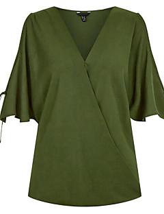 billige Plusstørrelser til kvinder på udsalg-V-hals Dame - Ensfarvet I-byen-tøj Bluse