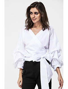 Women's Casual/Daily Simple Spring Summer Shirt,Solid Off Shoulder Long Sleeve Cotton Thin