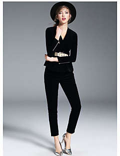 Women's Going out Street chic Fall T-shirt Pant Suits,Solid V Neck Long Sleeve Polyester Micro-elastic