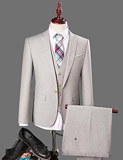 Masculino Terno Trabalho Simples Casual Primavera Outono,Sólido Padrão Algodão Colarinho de Camisa Manga Comprida