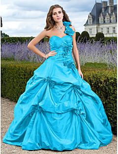 billiga Balklänningar-Balklänning Enaxlad Hovsläp Taft Formell kväll Klänning med Applikationsbroderi / Pickup-kjol av TS Couture®