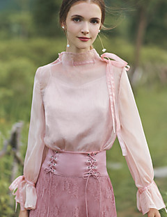 hesapli MASKED QUEEN®-Kadın's Dik Yaka Bluz Solid Vintage Sevimli