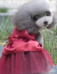 お買い得  犬用ウェア-ネコ 犬 ドレス 犬用ウェア クリスタル・ラインストーン ダークブルー レッド コットン コスチューム ペット用 パーティー カジュアル/普段着 結婚式 新年