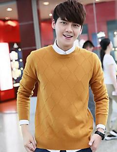 billige Hættetrøjer og sweatshirts til herrer-Herre Uld Langærmet Pullover - Ensfarvet Rund hals