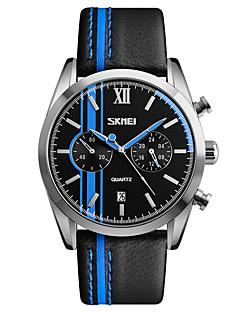 SKMEI Herrn Kleideruhr Modeuhr Armbanduhr Armbanduhren für den Alltag Japanisch Quartz Kalender Wasserdicht Stopuhr Leder Band Cool