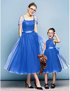 billige Mini Me-Prinsesse Firkantet hals Te-længde Tyl Elegant Skolebal / Formel aften Kjole med Sløjfe(r) / Krøllede Folder ved TS Couture®