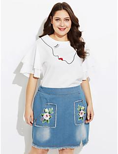 abordables -Tee-shirt Jupe Costumes Femme,Couleur Pleine Imprimé Quotidien Décontracté Automne Manches courtes Col Arrondi Coton Polyester