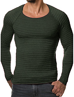 tanie Męskie swetry i swetry rozpinane-Męskie Rozmiar plus Sztuczne futro Weekend Na co dzień Okrągły dekolt Szczupła Pulower Jendolity kolor Długi rękaw