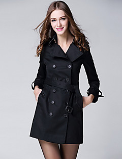 BURDULLY  Women's Casual/Daily Simple Fall Trench CoatSolid Shawl Lapel Long Sleeve Long Polyester