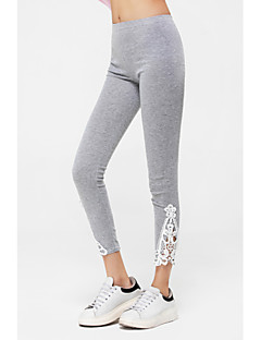 Women's Lace Black/Gray Skinny Hollow Flower Lace Leggings