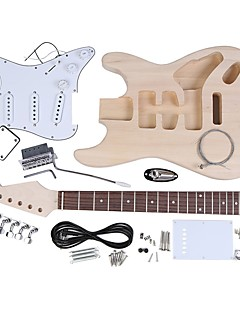cheap String Instruments-ST Style Electric Guitar Basswood Body Maple Neck Rosewood Fingerboard DIY Kit Set