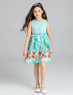 baratos -Menina de Vestido Floral Verão Poliéster Sem Manga