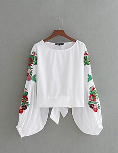 Women's Going out Casual/Daily Simple Sexy Street chic Summer T-shirt,Embroidery Round Neck Long Sleeves Cotton Linen Thin Medium