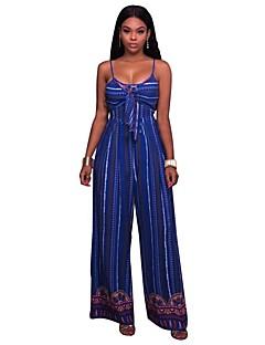 tanie Kombinezony damskie-Damskie Plaża Boho Bodysuit - Jendolity kolor, Bez pleców Ramiączka Spodnie szerokie nogawki